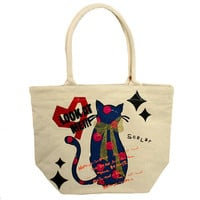 Scolar - Cat Mini Tote Bag, Oatmeal