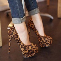 Sexy Womens Leopard Platform Pumps Stiletto High Heels  Ball Party Lady Shoes