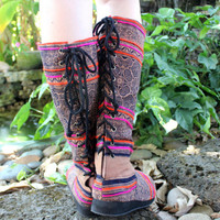 Vegan Womens Moccasin Boots in Hmong Batik On Tan Lace up Back