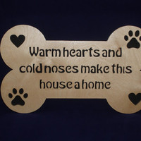 Dog Bone Plaque With Hearts, Paw Prints and Saying Handmade From Birch Plywood