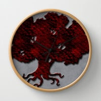 A Simple Goth Tree Wall Clock by Texnotropio