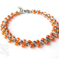 Tangerine Dream - Stainless Steel Chainmaille Anklet - Orange Beaded Ankle Chain
