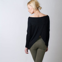 Oversize Women's Blouse / Top Tunic / Long Sleeve Top / Sexy Top / Open Back Blouse - Donation to UNICEF - Model 78