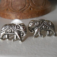 Silver Elephant Earrings - Elephant Stud Earrings - Silver Stud Earrings, Elephant Post Earrings