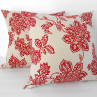 Red Floral Pillow Cover Upcycled 18 X 18 Inches