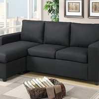 2 pc Jasmine collection dark gray linen like fabric upholstered reversible chaise sectional sofa with square arms