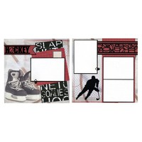 2 Coordinating Premade Hockey Scrapbook Pages - Hockey Skates | SusansScrapbookShack - Paper/Books on ArtFire