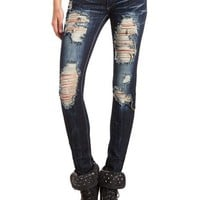 MACHINE JEANS DESTROYED DARK WASH SKINNY JEAN