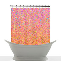 Artistic Shower Curtain - Cotton Candy Sky, candy pink, peach, blue , pastel, art, decor, home