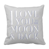 Gray White Blue Love you to the moon & back