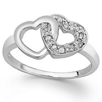 Diamond Double Heart Ring in Sterling Silver (1/10 ct. t.w.)