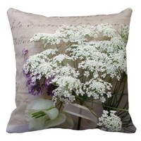 Vintage script with white flowers throw pillow