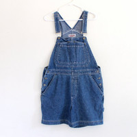 90s Bill Blass Cotton Punk Grunge Slouch Blue Denim Jeans Overalls Shorts Jumper . M . D201 . 679.1.12.14