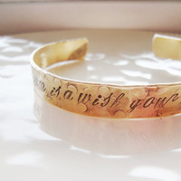 Walt Disney inspired hand stamped bronze cuff textured