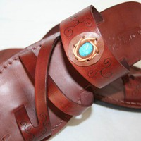 Brown Decor Bath Leather Sandals | SANDALI - Clothing on ArtFire