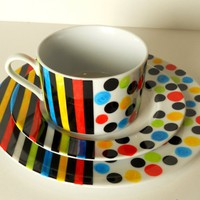Cup, Saucer and sandwich Plate: multicolor Stripes and Dots | dorisse - Housewares on ArtFire