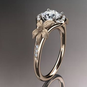 14kt rose gold diamond leaf and vine wedding ring