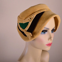 Vintage Art Deco Cloche Hat 30s 40s--Cedar Crest Original--FREE S&H in US