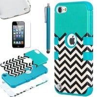 Pandamimi ULAK(TM) Hybrid Hard Pattern with Silicon Case Cover for Apple iPod Touch 5 Generation with Screen Protector and Stylus (Blue/Black & White Wave Pattern)