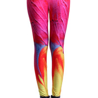 ROMWE Watercolor Print Red Leggings