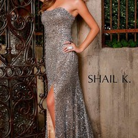 Strapless Platinum Sequin Prom Dress