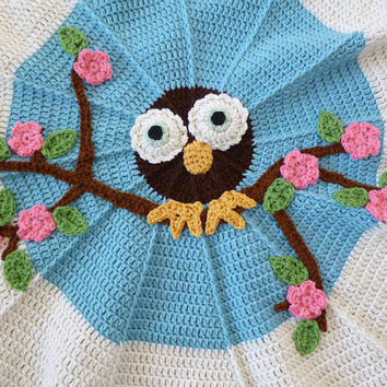 Crochet Owl Blanket : Crochet Owl Baby Blanket from ACozyCrochet on Etsy Etsy finds
