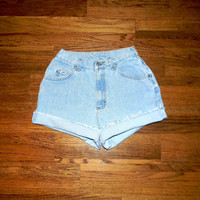 Vintage Denim Cut Offs - Vintage High Waisted 80s Light Wash Blue Jean Shorts - Cut Off/Frayed/Distressed LEE Short Shorts - Size 5/6