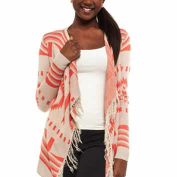 Tribal Print Fringe Cardigan - Coral + Tan