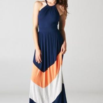 Colorblock Halter Chevron Maxi