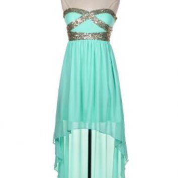 Sequin Hi/Lo Strapless Dress