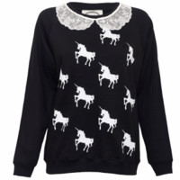 - Alice Takes A Trip Unicorn Lace Frill Women's Jumper