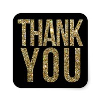 Black & Gold Glitter Thank You Wedding Sticker