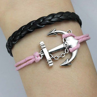 Anchorantique silver anchor braceletanchor wax cord by deity86