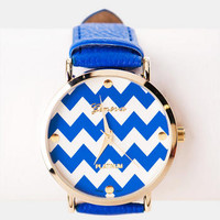 ZARIA CHEVRON WATCH IN BLUE