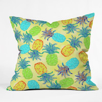 Lisa Argyropoulos Pineapple Pandemonium Yellow Outdoor Throw Pillow