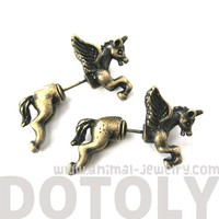 3D Fake Gauge Unicorn with Wings Animal Stud Earrings in Brass