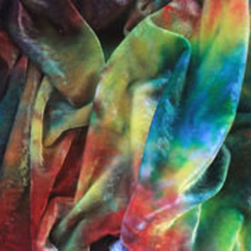 Earth Hand Dyed Silk Velvet Fabric Quarter - The Rainbow Fingers of Cymberrain