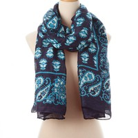 Navy Multi Biloxi Tie All Scarf - Scarves - Shop | Theodora & Callum