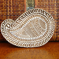 Paisley Stamp: Hand Carved Stamp, Wood Stamp, Printing Block, Wooden Stamp from India, Indian Art
