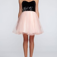 Strapless Velvet Bodice and Tulle Skirt Dress - David's Bridal
