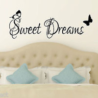 Sweet Dreams Butterflies Wall Sticker for Bedroom vinyl home decor Mural Decal 2