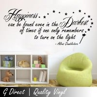 Harry Potter Happiness Can Be Found Dumbledore Inspirational Wall Sticker Quote 100x55