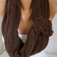 ON SALE - Brown Knit Infinity Scarf Shawl Circle Scarf Loop Scarf Gift Chocolate Scarf - fatwoman - chunky infinity scarf for her