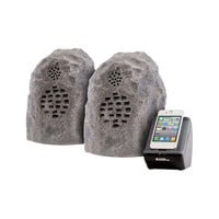 Wireless Outdoor Gray Rock Speaker - Set of 2