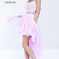 Sherri Hill Pink High Low Dress