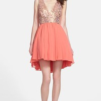Way-In Sequin Bodice Fit & Flare Dress (Juniors) | Nordstrom