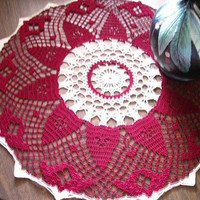 American Beauty Red Burgundy Color and Ecru Crocheted Doily 21.5 | MDavisDesigns - Crochet on ArtFire