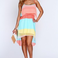 Peach Multi Sleeveless High Low Hem Dress