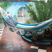 White & Light Blue Hammock | Masaya Market | Crafts For Teenagers | Patio Furniture