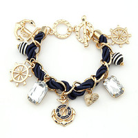 Sailor Fashion Anchor Boat Rudder Wheel Charm Bracelet